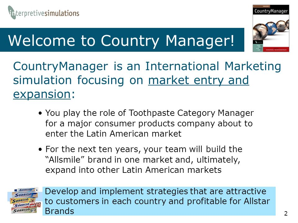 welcome to country manager - International Marketing Manager