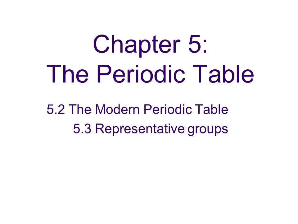 Chapter 5: The Periodic Table