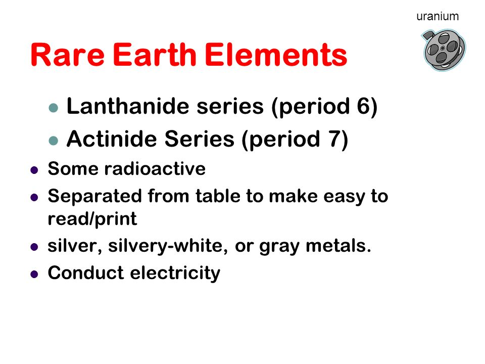 Rare Earth Elements Lanthanide series (period 6)