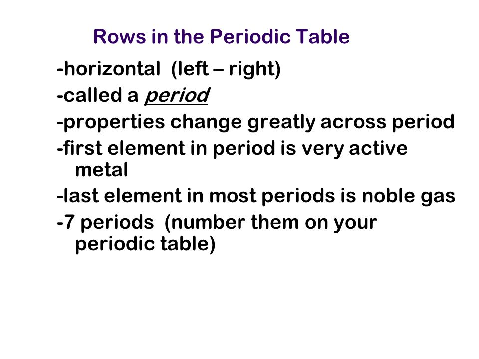 Rows in the Periodic Table