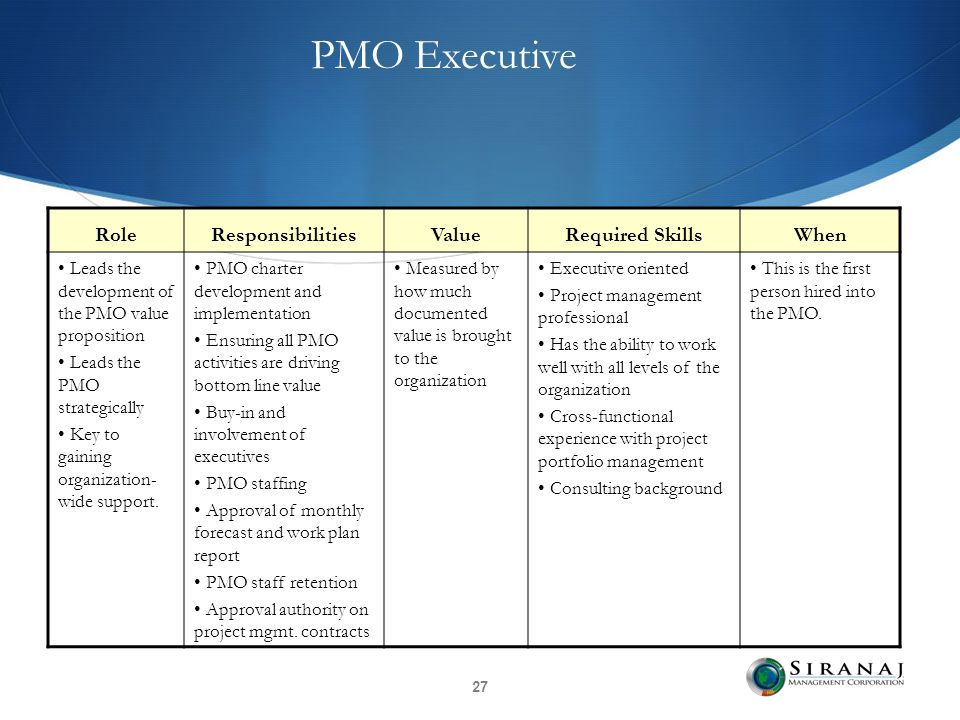 pmo responsibilities responsibilities of a project management