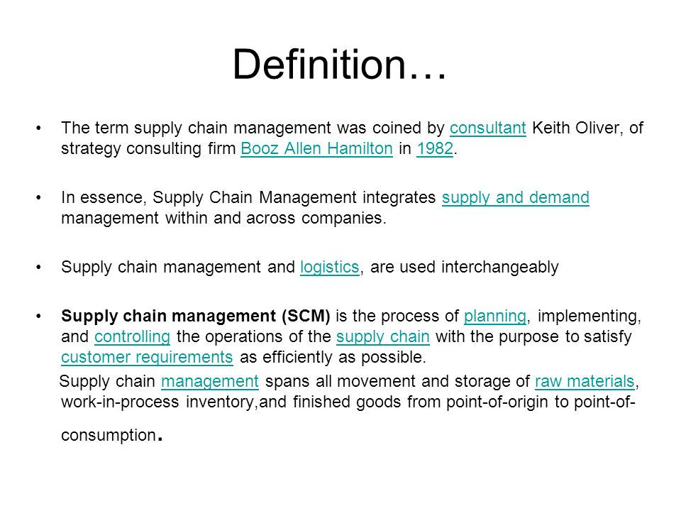 supply chain definitions The intent of this initiative is to help create a consistent and common  understanding about supply chain finance (scf) starting from the definition of  terminology.