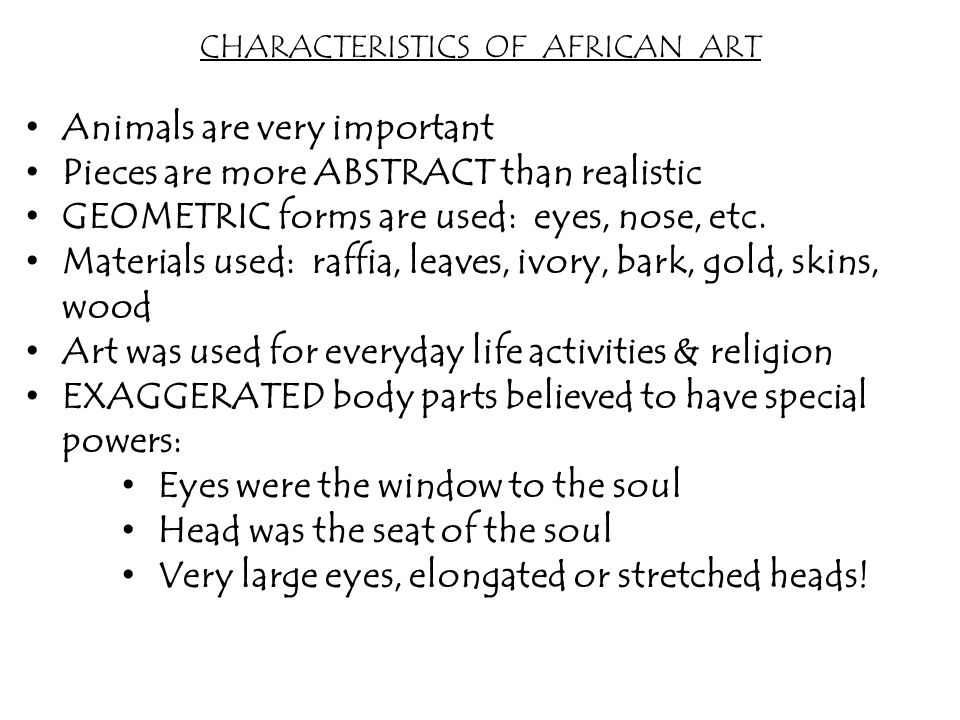 characteristics of african religion African traditional religion by definition, one cannot find a single encompassing book on religion in africa called african traditional religion to which all the peoples of africa draw their religious inspiration.