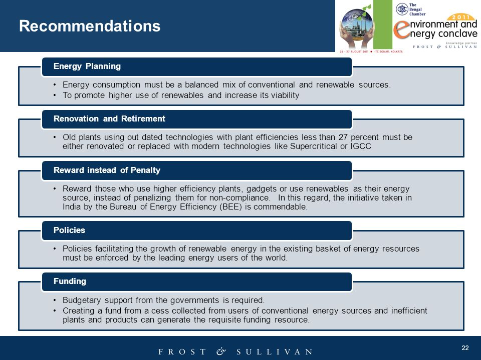 Recommendations Energy consumption must be a balanced mix of conventional and renewable sources.