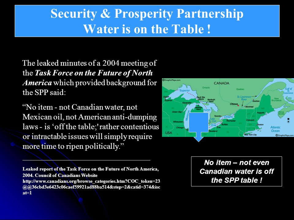 Security & Prosperity Partnership Water is on the Table !