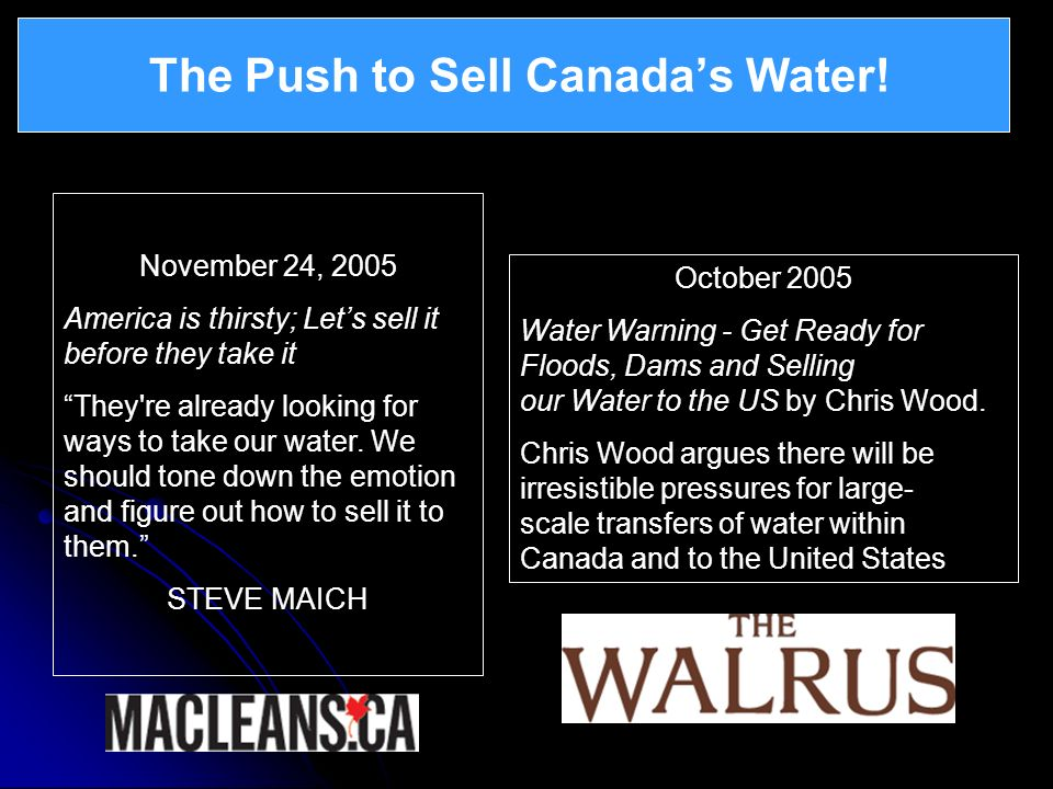 The Push to Sell Canada's Water!