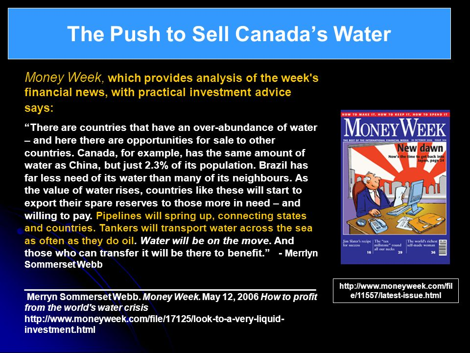 The Push to Sell Canada's Water