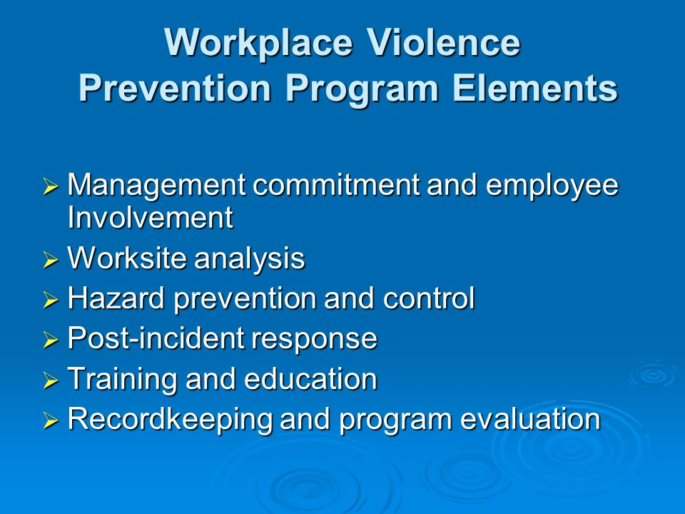 workplace violence prevention plan paper However, every business should consider establishing a workplace violence prevention plan such a plan does not have to be complicated, time consuming or.