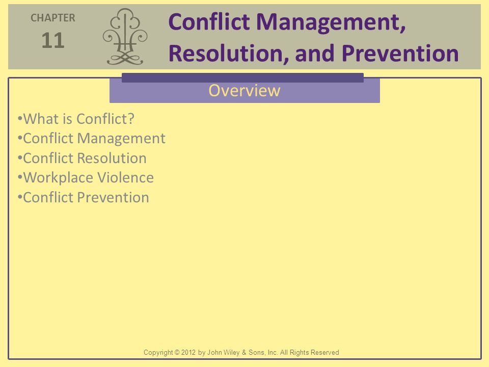 an overview of conflict resolution The office of equality and diversity (oed) offers informal conflict coaching and  collaborative conflict resolution training that integrates the best of facilitative,.