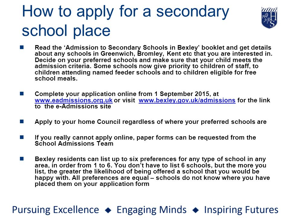 How To Apply For A Secondary School Place  Admission Forms Of Schools