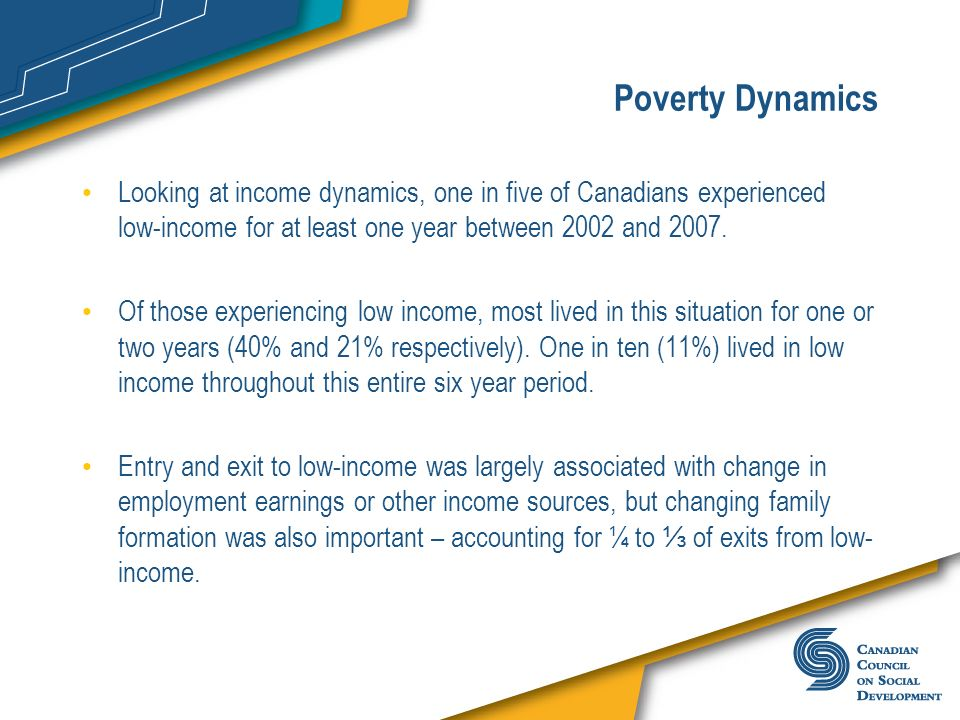 Poverty Dynamics Looking at income dynamics, one in five of Canadians experienced low-income for at least one year between 2002 and 2007.