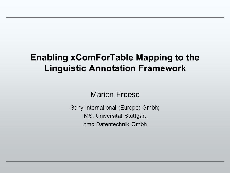 Enabling xComForTable Mapping to the Linguistic Annotation Framework