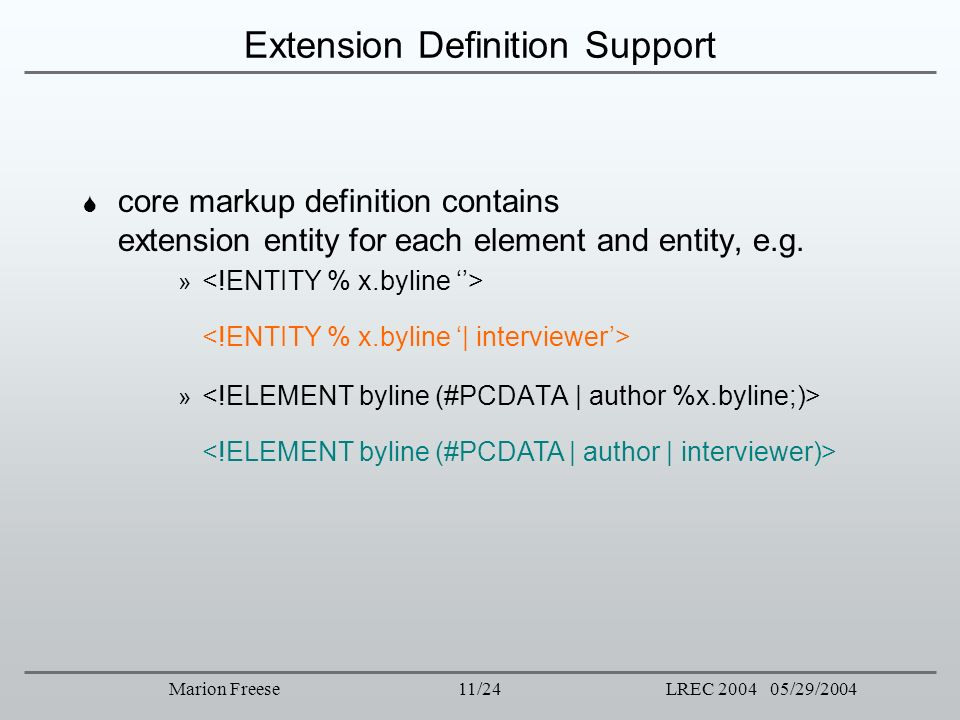 Extension Definition Support