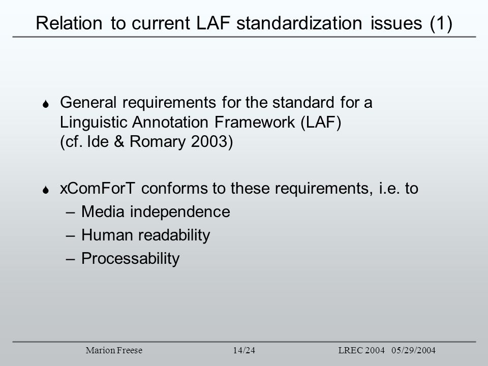 Relation to current LAF standardization issues (1)