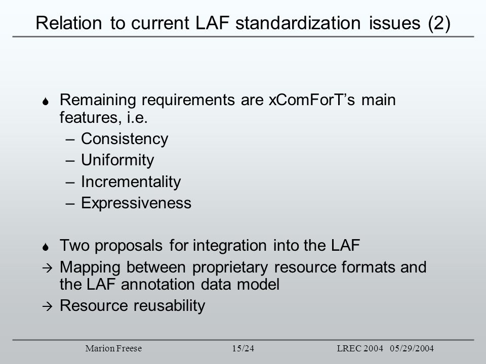 Relation to current LAF standardization issues (2)