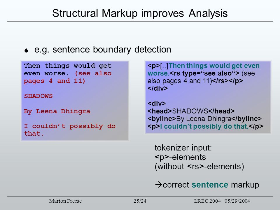 Structural Markup improves Analysis