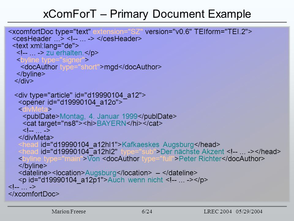 xComForT – Primary Document Example