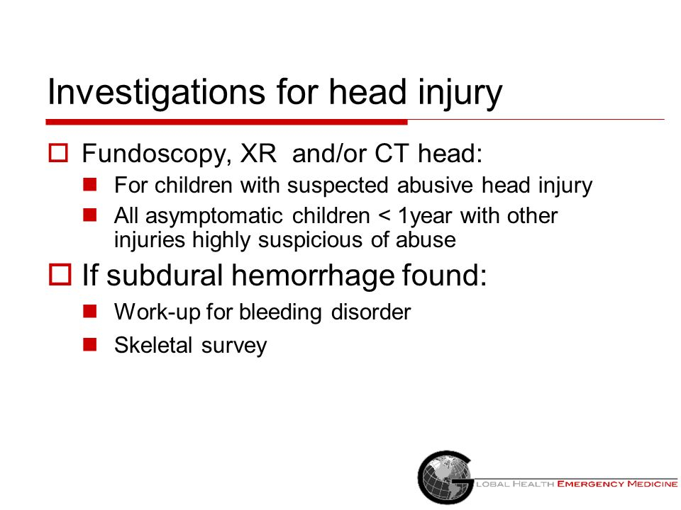 Investigations for head injury