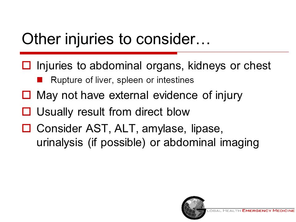 Other injuries to consider…