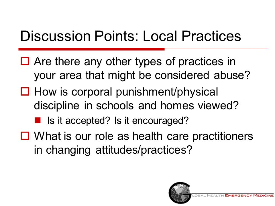 Discussion Points: Local Practices