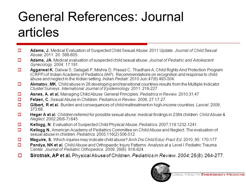 General References: Journal articles