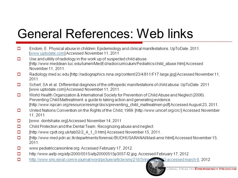 General References: Web links