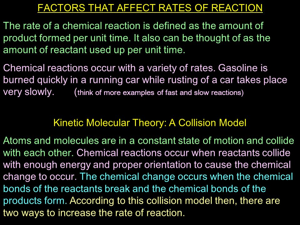 what points raise any amount with some sort of chemical reaction