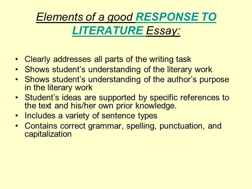 writing essay response to literature Grade 6 third prompt rubric response to literature writing a character analysis 4 § fully addresses the prompt § is clearly organized in a.