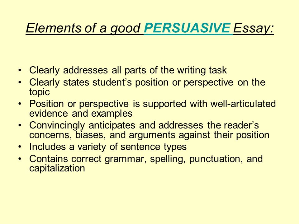 Identify and describe the purposes of the elements of an essay