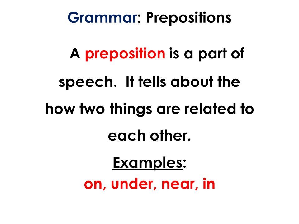 grammer preposition A preposition tells a reader when and where something occurred as well as how it occurred english prepositions perform so many functions that their nuances cause quite a bit of confusion here are a few examples of prepositions that illustrate 14 of the most common mistakes: embed this image to.