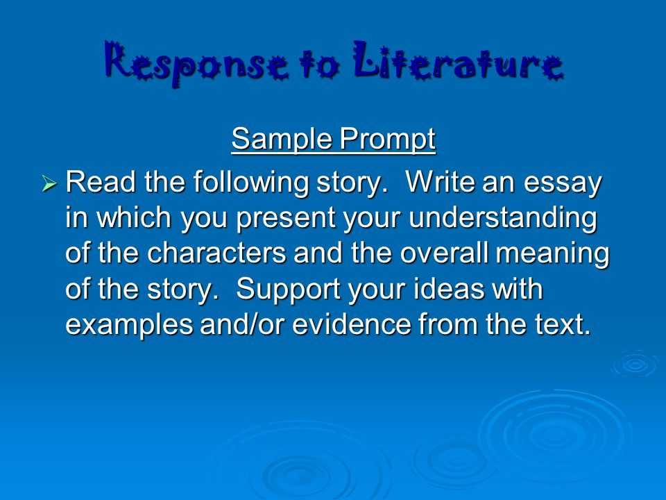 response to literature essay prompt Upon reading please answer the following ap open response style prompt  about beowulf:  in a well-organized essay, discuss the significance of the  differing.