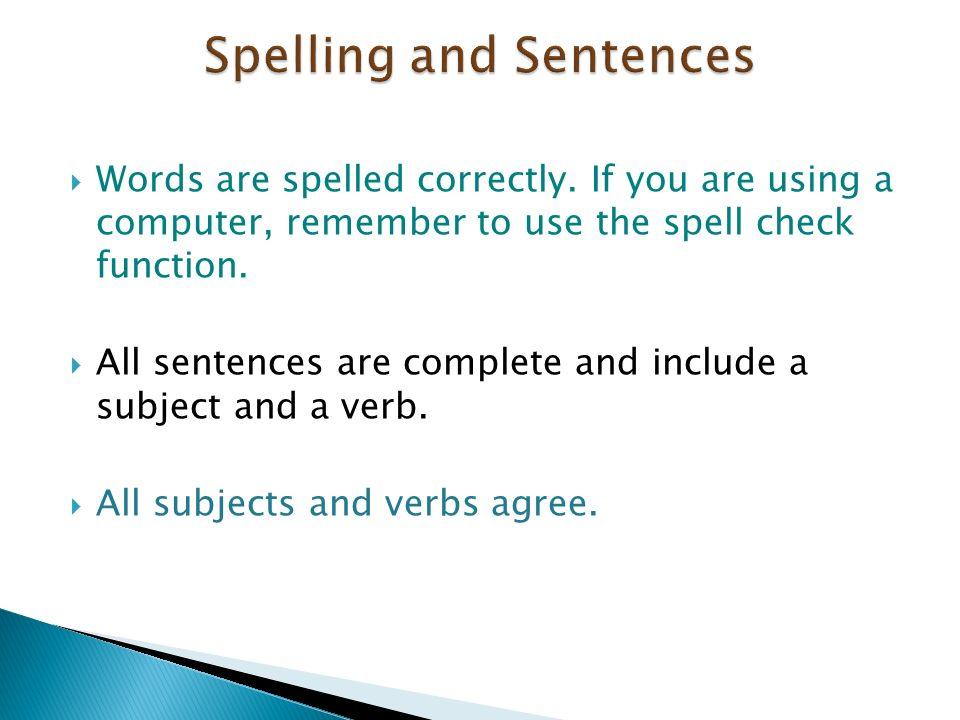 Spelling and Sentences