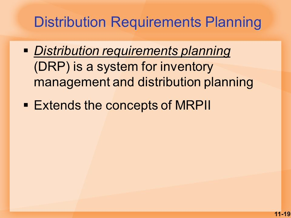 distribution resource requirements planning Esta nova versão é chamada mrp ii (manufacturing resource planning)o mrp ii (manufacturing resource planning ou planeamento dos recursos de produção).