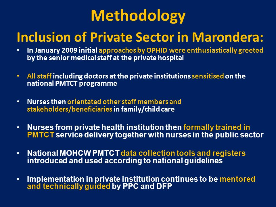 Methodology Inclusion of Private Sector in Marondera: