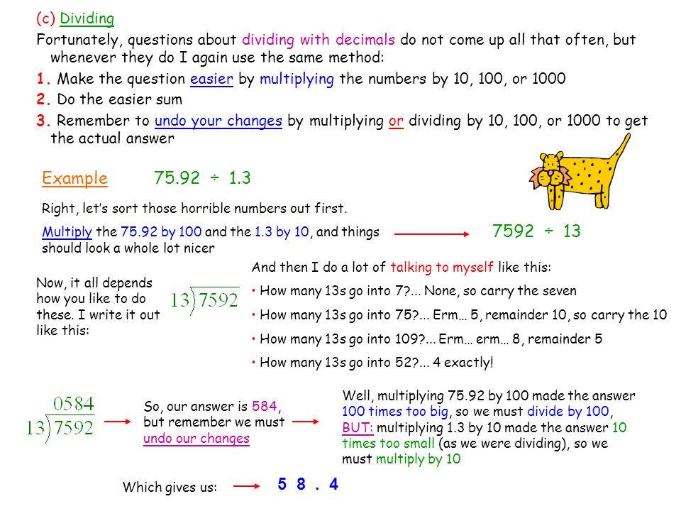 how to carry over decimals