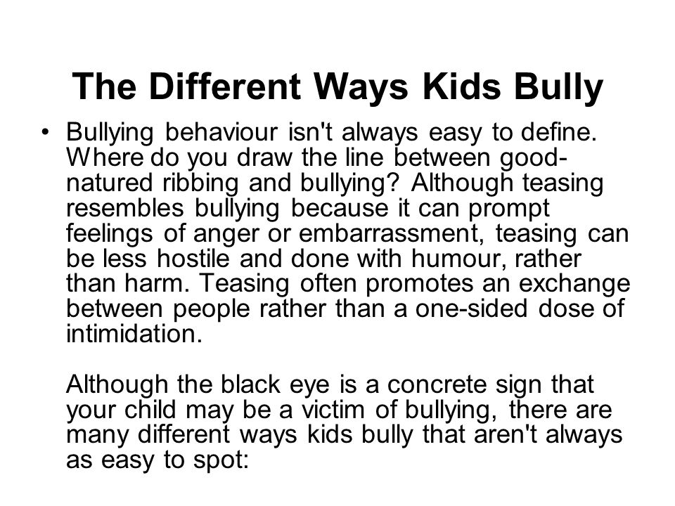 The Different Ways Kids Bully