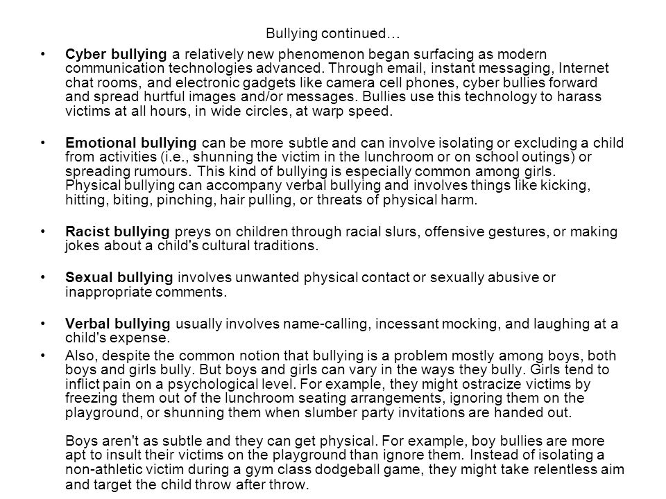 Bullying continued…