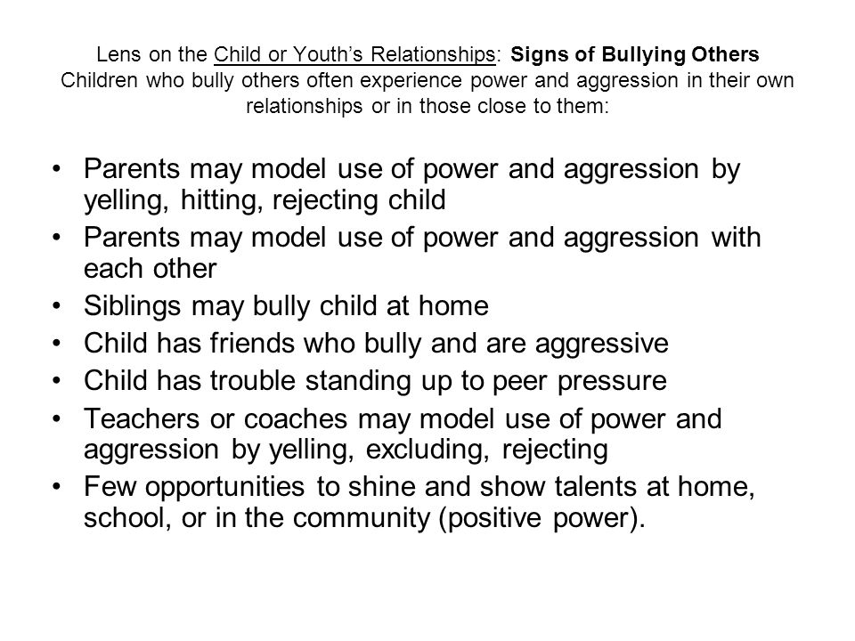 Parents may model use of power and aggression with each other