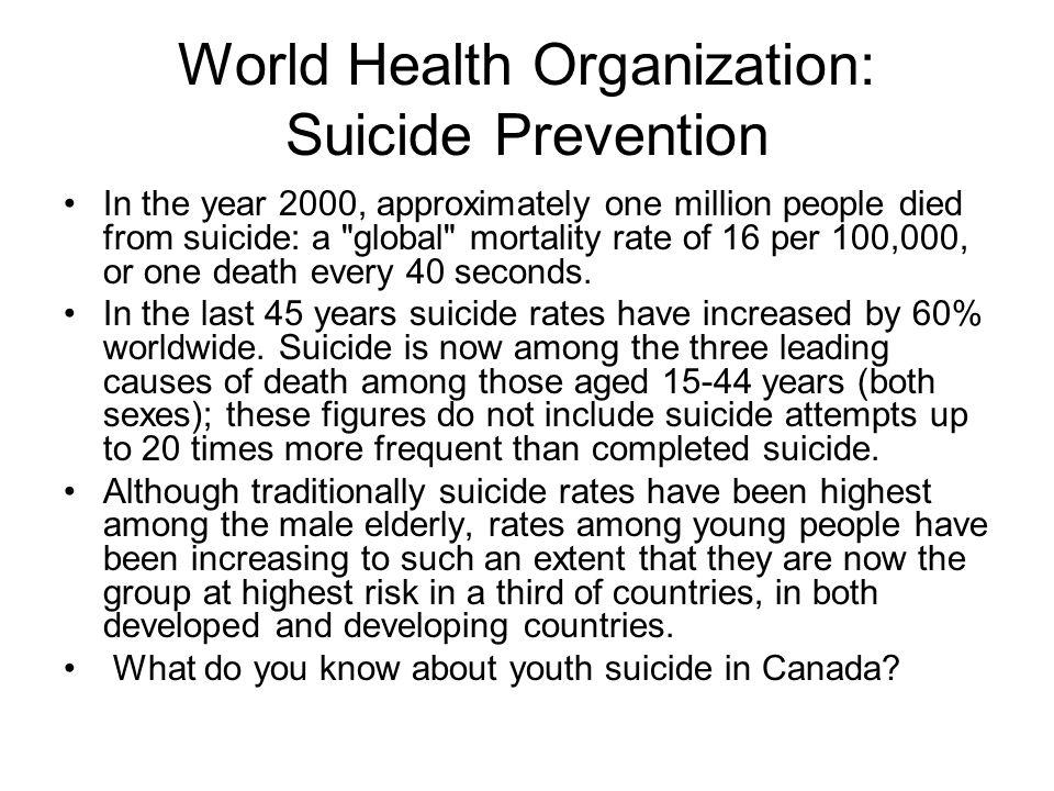 World Health Organization: Suicide Prevention