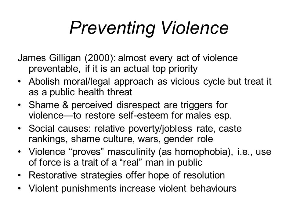 Preventing Violence James Gilligan (2000): almost every act of violence preventable, if it is an actual top priority.