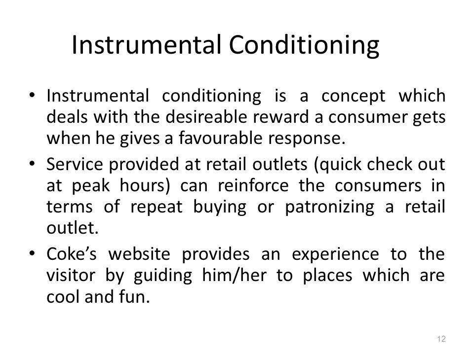 instrumental conditioning Four experiments were conducted to study the contents of human instrumental  conditioning experiment 1 found positive transfer between a discriminative.