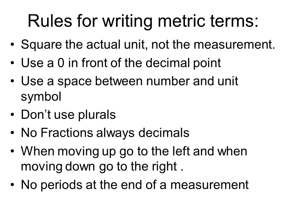 Rules for writing metric terms: