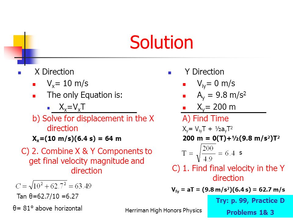 Solution X Direction Vx= 10 m/s The only Equation is: Xx=VxT