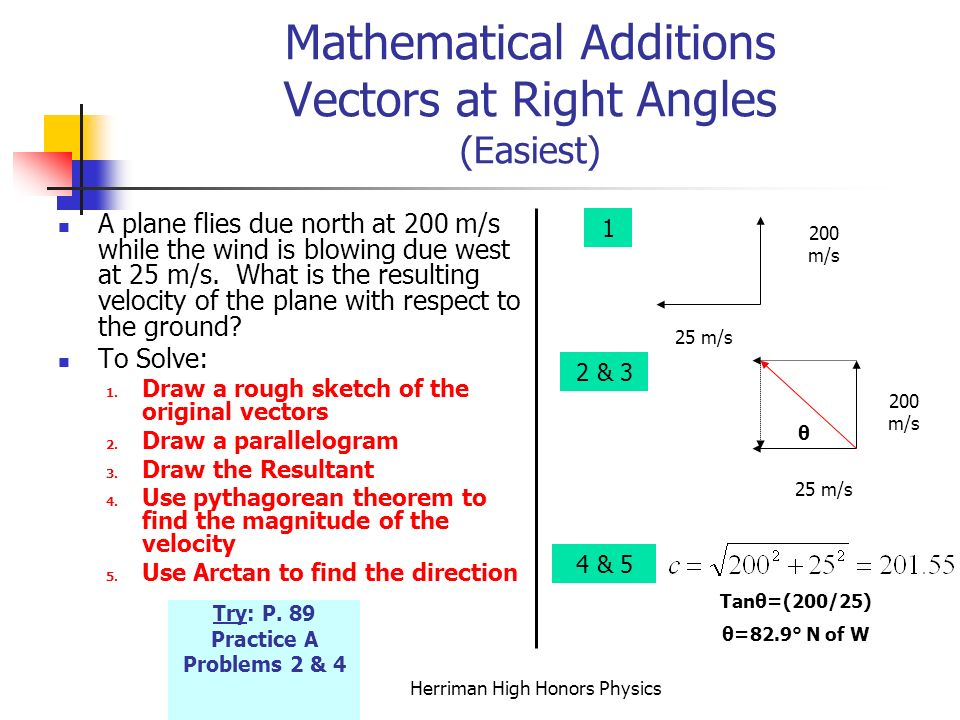Mathematical Additions Vectors at Right Angles (Easiest)