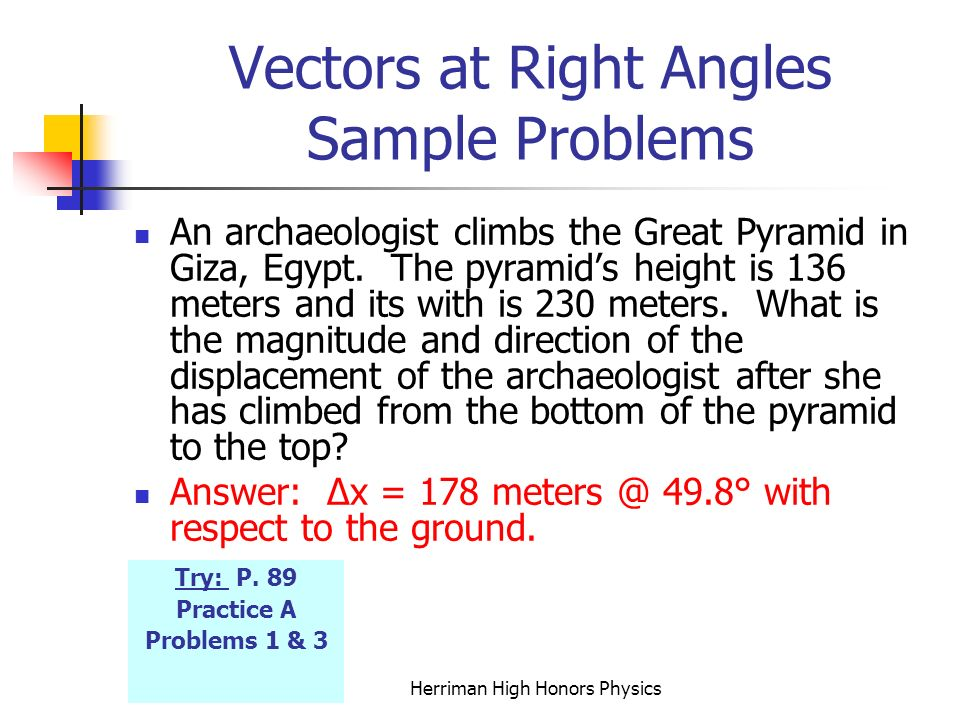 Vectors at Right Angles Sample Problems