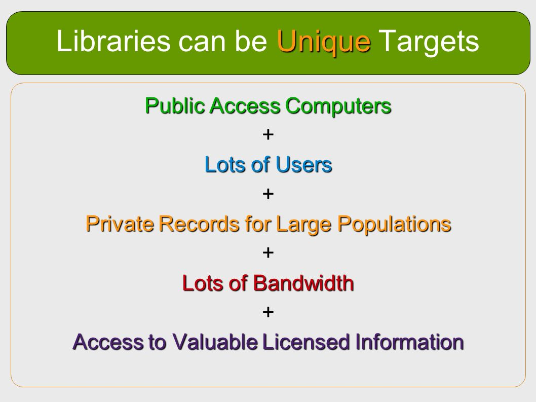 Libraries can be Unique Targets