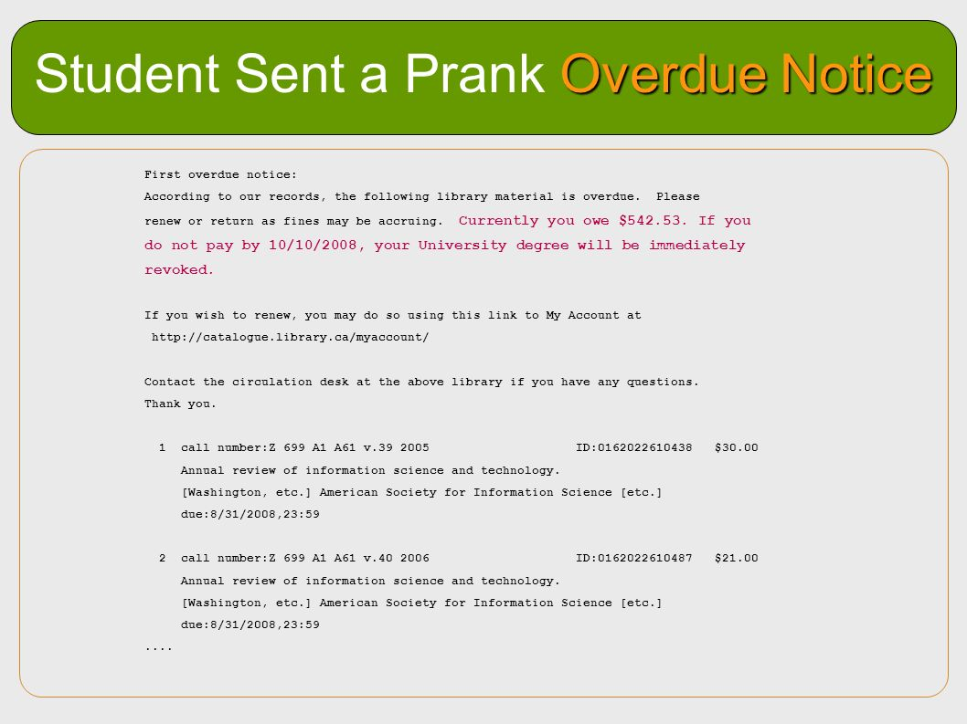 Student Sent a Prank Overdue Notice