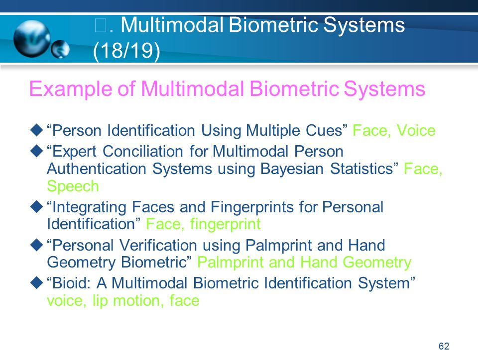 Multimodal Biometric Systems
