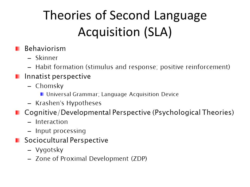 compare two theories of first second language There are two independent systems of second language performance 'the in which the first language continues to be developed second-language.