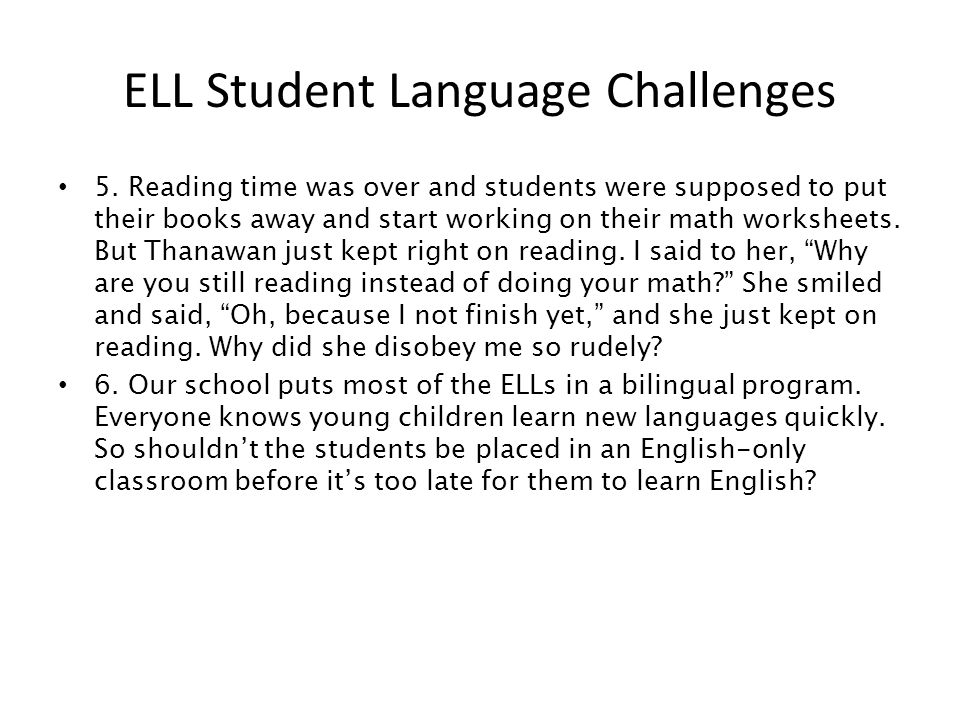 ELL Student Language Challenges